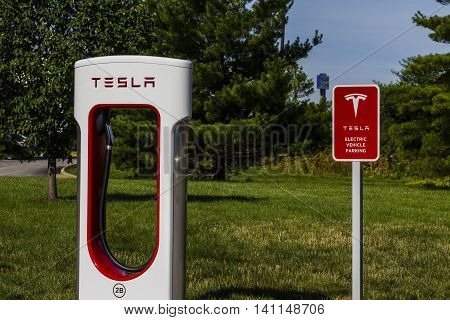 Lafayette IN - Circa July 2016: Tesla Supercharger Station. The Supercharger offers fast recharging of the Model S and Model X electric vehicles IX