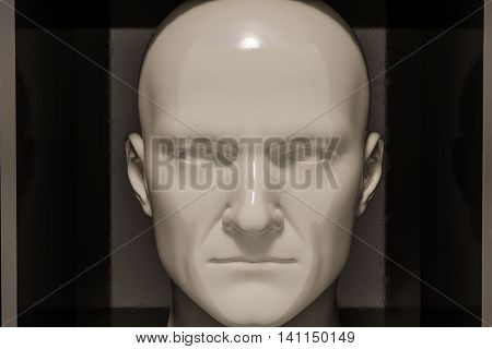 3d render: poster with color plastic head