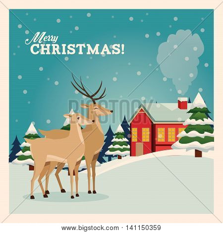 Merry Christmas concept represented by reindeer icon over landscape. Colorfull and vintage illustration inside frame.
