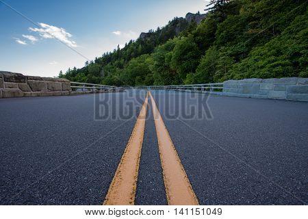 Paint Stripe on Blue Ridge Parkway in summer
