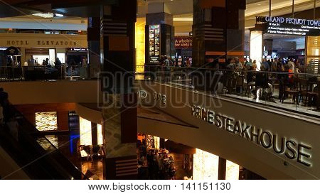 MASHANTUCKET, CT - JUL 23: Foxwoods Resort Casino in Mashantucket, Connecticut, as seen on July 23, 2016. A complex of six casinos, the resort covers an area of 9,000,000 sq ft.