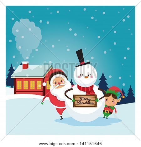 Merry Christmas concept represented by santa snowman and elf cartoon icon over landscape. Colorfull and classic illustration inside frame.