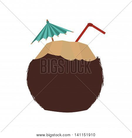 cocktail coconut summer umbrella icon. Isolated and flat illustration. Vector graphic