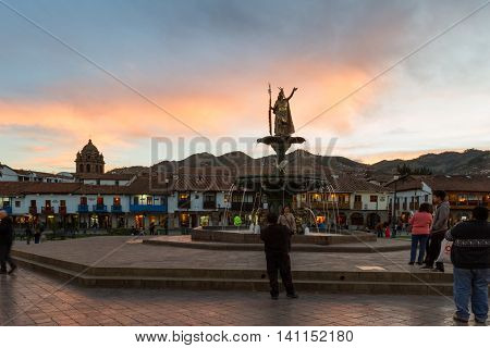 Inca Pachacutec Fountain, Cusco Peru