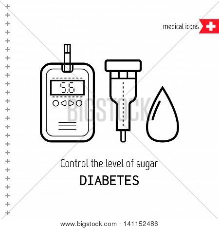 Test strips and drop. Determination of the level of blood sugar. Flat linear icons. Diabetes