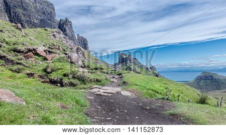 Empty Mountain Path Leading Towards Quiraing Hill on the Isle of Skye in Scotland