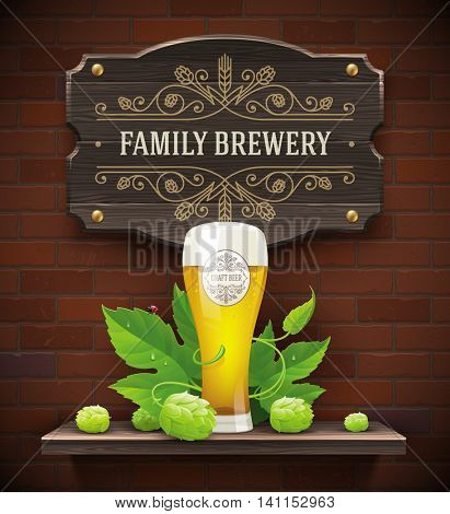 Signboard with brewery flourish logo and still life with beer glass and hop on a brick wall background - vector illustration