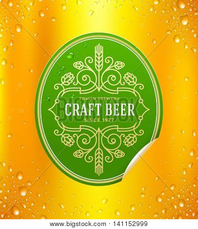 Green beer label with flourishes emblem on a yellow beer glass background - vector illustration