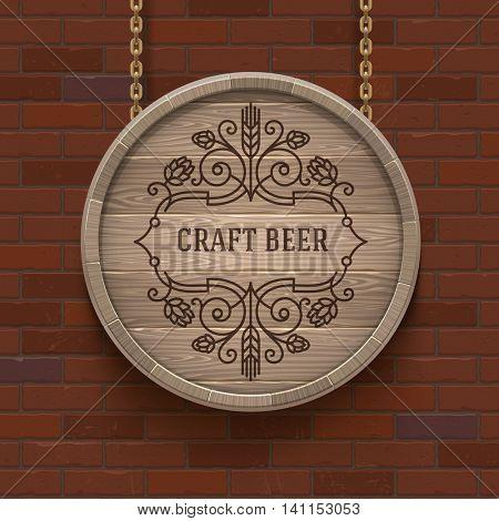 Wooden cask signboard with flourishes beer emblem - vector design illustration