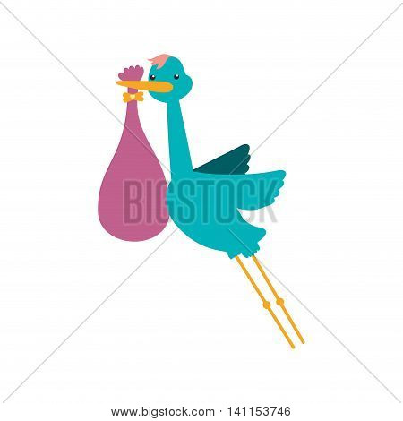 Stork bag baby shower icon. Isolated and flat illustration. Vector graphic