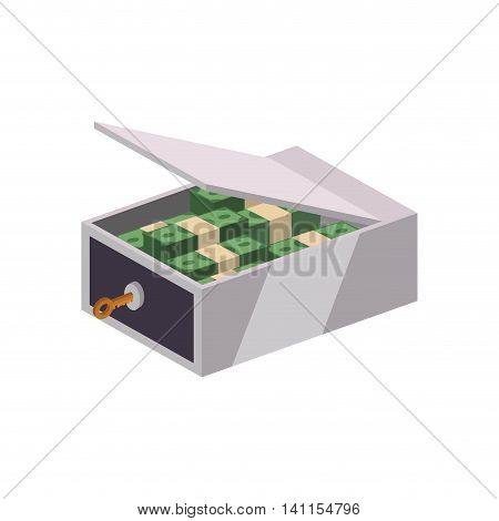 Strongbox bills security money financial item value icon. Isolated and flat illustration. Vector graphic
