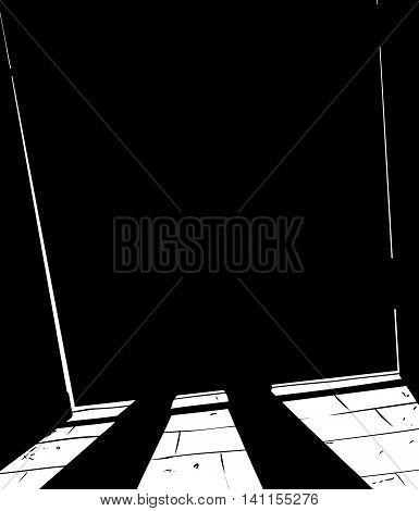 Obscured Figure Standing Behind Shut Door