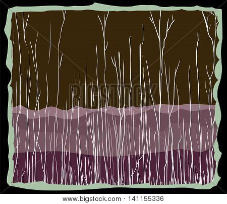 Abstract Birch Tree And Mountain Background