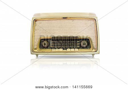 vintage radio isolated on white background with clipping path