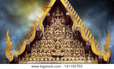 AYUTTHAYA THAILAND January 15 2016 :Vishnu Garuda On the gable of the temple in Wat Na Phra Meru. Asian Culture.