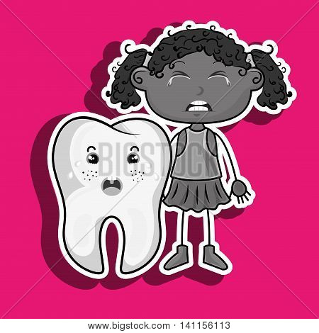 sad crying cartoon girl with a big cartoon tooth and a toothache, vector illustration