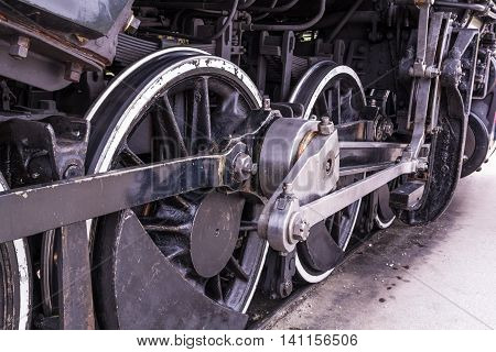 An old steam train wheels closeup image