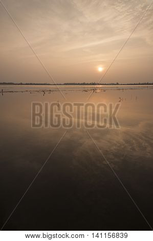 Sunset Reflecting On Large Body Of Fresh Waterasia