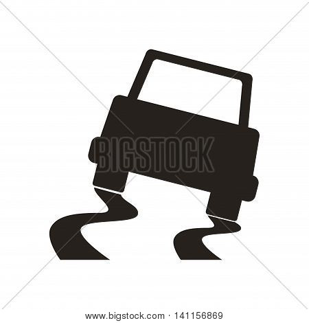 car accident silhouette vehicle insurance icon. Isolated and flat illustration. Vector graphic