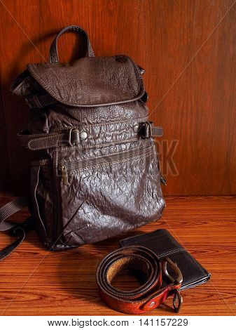 Brown leather collection for men to travel.