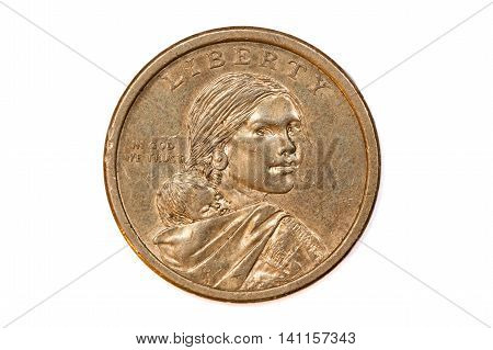 Front face of american one dollar coin