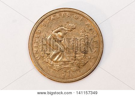 Back side of an american dollar coin