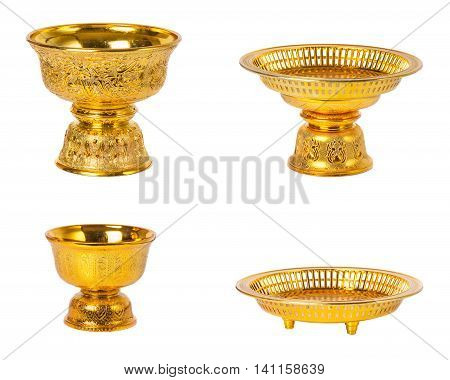 4 different golden tray with pedestal (vintage style) in Thailand isolated on white background