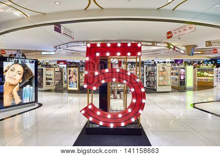 SINGAPORE - CIRCA NOVEMBER, 2015: interior of a store at Changi Airport. Changi Airport  is the primary civilian airport for Singapore and one of the largest transportation hubs in Southeast Asia.