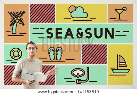 Sea Sun Cand Beach Ocean Shore Coast Vacation Concept