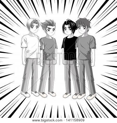 Boy anime male manga cartoon comic striped icon. Grey back and white illustration. Vector graphic