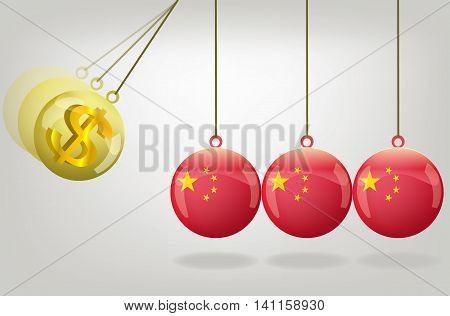 Vector china money crisis concept art .