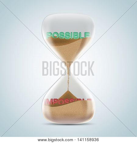 Opposite Wording Concept In Hourglass, Possible Revealed After Sands Fall And Covered Impossible Tex