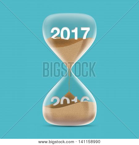 New Year 2017 concept with hourglass. Sands fall covered 2016. 3d illustration.