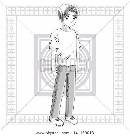 Boy frame anime male manga cartoon comic icon. Grey back and white illustration. Vector graphic