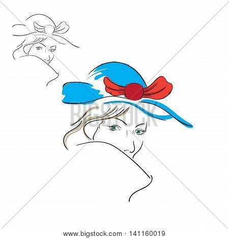 contour image of a girl made an art brush black and white and color