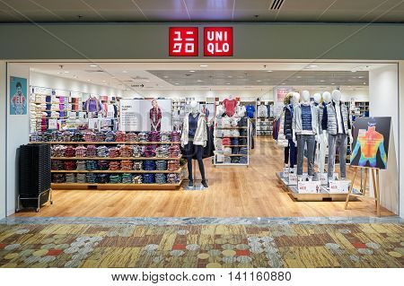 SINGAPORE - CIRCA NOVEMBER, 2015: Uniqlo store at Singapore Changi Airport. Changi Airport  is the primary civilian airport for Singapore and one of the largest transportation hubs in Southeast Asia.