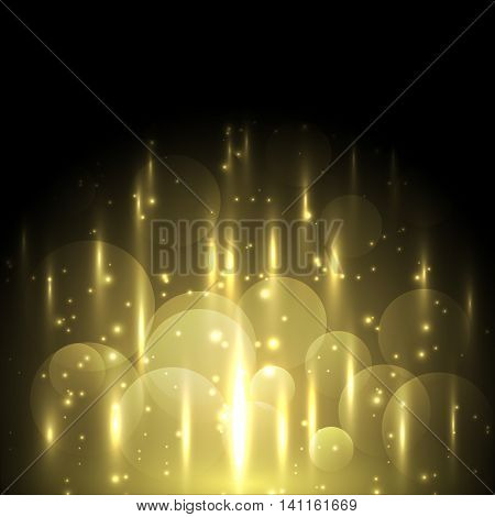 Abstract yellow light and bokeh glowing background, stock vector