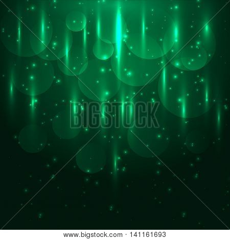 Abstract green light and bokeh glowing background, stock vector
