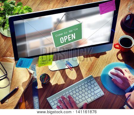 Open Signage Marketing Shop Concept