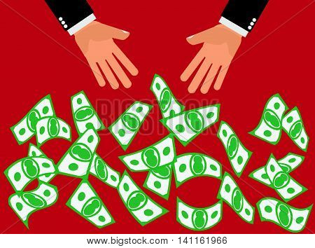 Cash Giveaway Blowout -Hands drop or throw cash or money in the air for people to catch