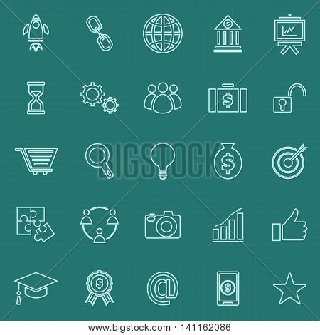 Start up line color icons on green background, stock vector