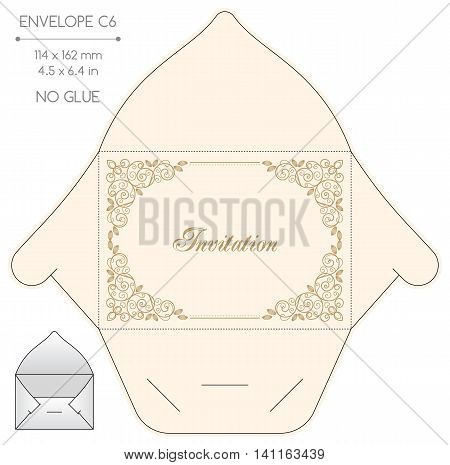 Envelope template with die cut. No glue. Retro style design with calligraphy frame.
