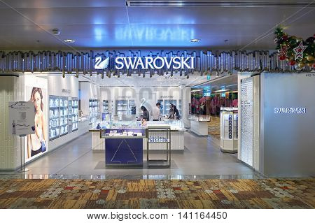 SINGAPORE - CIRCA NOVEMBER, 2015: Swarovski store in Changi Airport. Changi Airport  is the primary civilian airport for Singapore and one of the largest transportation hubs in Southeast Asia.