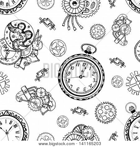 Seamless background with old clock and retro mechanisms. Hand drawn repeated illustration with vintage mechanical parts in steampunk style
