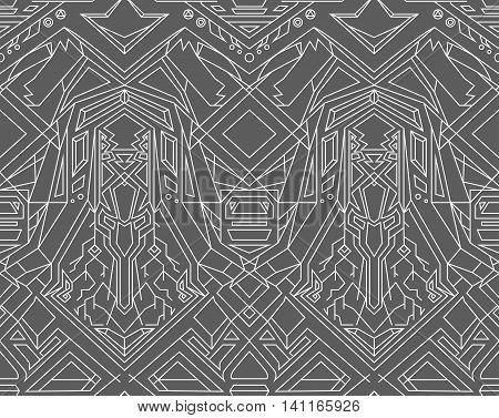 Geometric seamless pattern transformer. Line Art. EPS 8