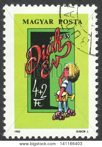 MOSCOW RUSSIA - CIRCA APRIL 2016: a post stamp printed in HUNGARY dedicated to Youth Stamp Exhibition Baja circa 1983