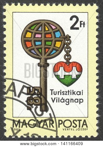 MOSCOW RUSSIA - CIRCA APRIL 2016: a post stamp printed in HUNGARY dedicated to the International Tourism Day circa 1985