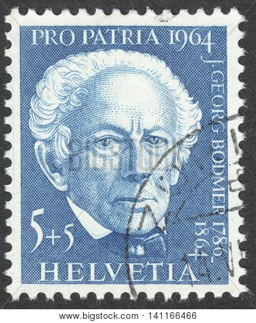 MOSCOW RUSSIA - CIRCA MAY 2016: a post stamp printed in SWITZERLAND shows a portrait of Johann Georg Bodmer the series