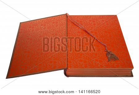 Open big red book on white background