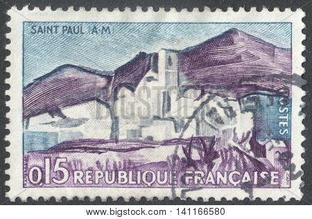 MOSCOW RUSSIA - CIRCA APRIL 2016: a post stamp printed in FRANCE shows view of Saint-Paul Maritime Alps the series